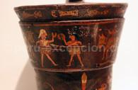 Pintura de qero inca, combat contre les espagnols, XVIIIe, Musée Inka de Cuzco