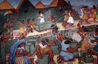 Représentation du culte inca et de l'édification de pyramides, Musée Inka de Cuzco