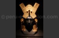 Parure frontale et boucles en or chimu, musée larco