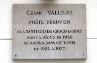 Plaque César Vallejo, 20 rue Molière à Paris