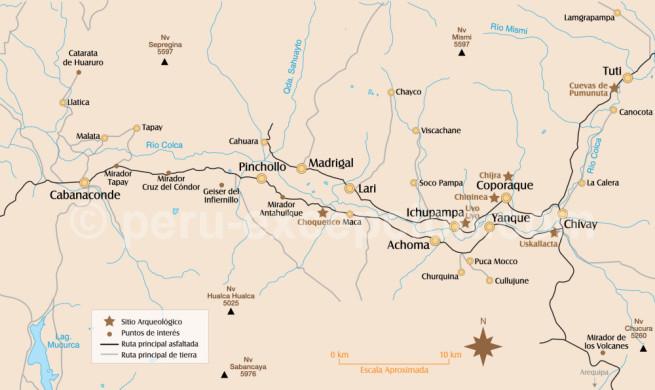 Carte du canyon de Colca