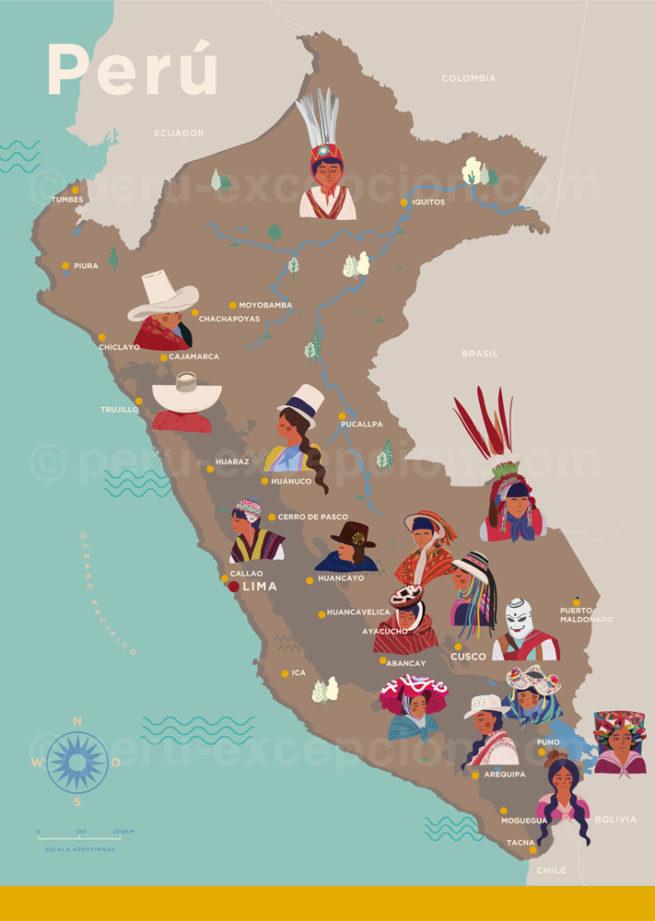 Carte, chapeaux du Pérou